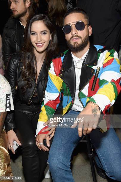 Natalia Barulich and Maluma attend the Jeremy Scott front row during New York Fashion Week The Shows at Gallery I at Spring Studios on February 8...