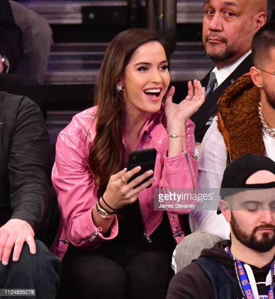 Natalia Barulich attends Philadelphia 76ers v New York Knicks game at Madison Square Garden on February 13 2019 in New York City
