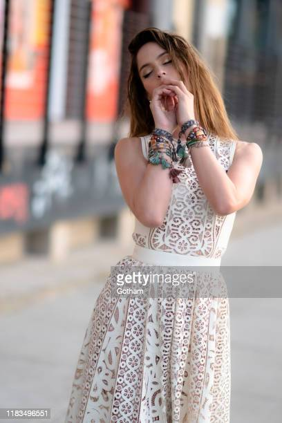 Natalia Barulich is seen in the Meatpacking District on October 25, 2019 in New York City.