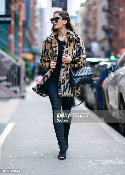 Natalia Barulich is seen wearing a Stand coat with Mother jeans in SoHo on November 25 2018 in New York City