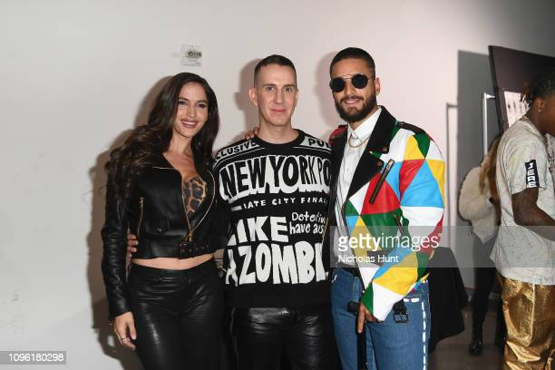 Natalia Barulich Jeremy Scott and Maluma pose backstage for the Jeremy Scott fashion show during New York Fashion Week The Shows at Gallery I at...