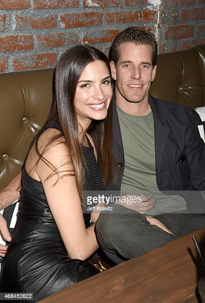 Natalia Beber and Cameron Winklevoss attend the HBO Silicon Valley season 2 premiere and after party at the El Capitan Theatre on April 2 2015 in...