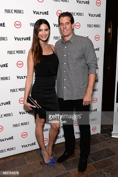 Natalia Beber and Cameron Winklevoss attend the Public Morals New York series screening at Tribeca Grand Screening Room on August 12 2015 in New York...