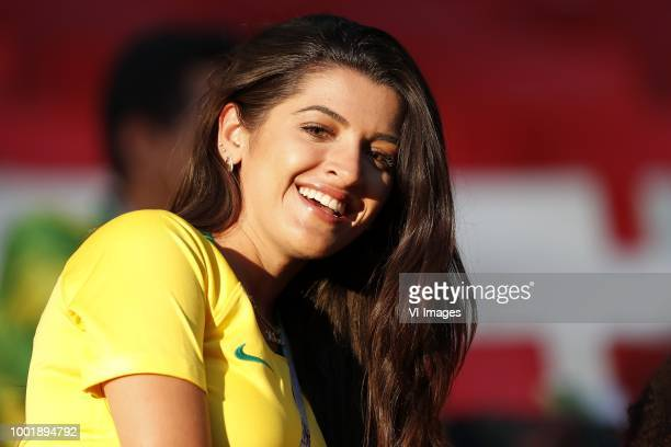 Natalia Becker partner of goalkeeper Alisson of Brazil during the 2018 FIFA World Cup Russia group E match between Serbia and Brazil at the Otkrytiye...