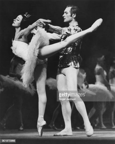 Natalia Bessmertnova as Odette and Mikhail Lavronsky as Prince Siegfried during a dress rehearsal of the Bolshoi Ballet production of Tchaikovsky's...