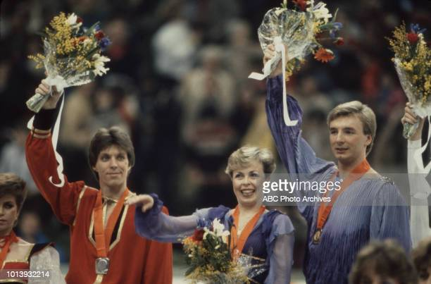Natalia Bestemianova Andrei Bukin Jayne Torvill Christopher Dean medal ceremony for the Ice dancing competition at the 1984 Winter Olympics / XIV...