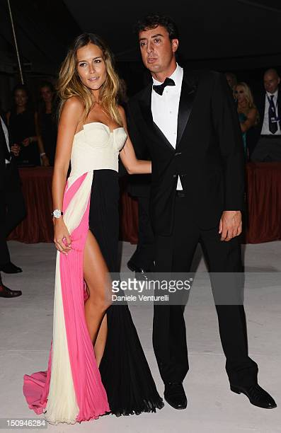 Natalia Borges and Lorenzo Tonetti attend the opening ceremony dinner during the 69th Venice Film Festival at the Palazzo del Cinema on August 29...