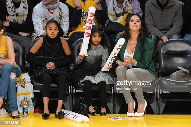 Natalia Bryant Gianna Bryant and Vanessa Laine Bryant attend a basketball game between the New York Knicks and the Los Angeles Lakers at Staples...