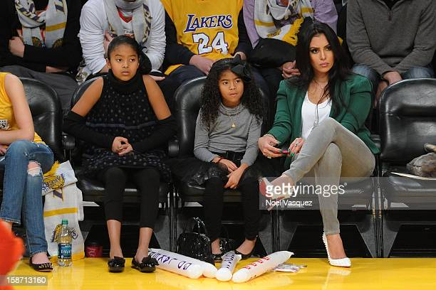 Natalia Bryant Gianna Bryant and Vanessa Laine Bryant attends a basketball game between the New York Knicks and the Los Angeles Lakers at Staples...