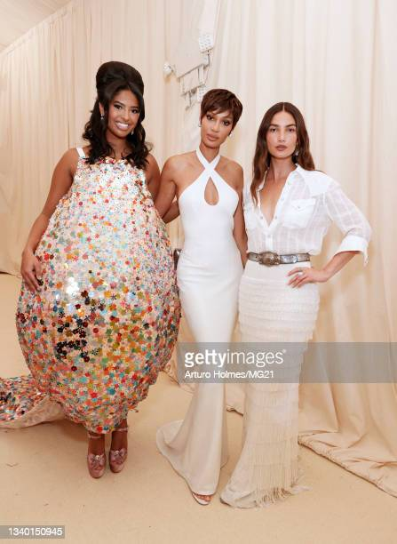 Natalia Bryant, Joan Smalls, and Lily Aldridge attend The 2021 Met Gala Celebrating In America: A Lexicon Of Fashion at Metropolitan Museum of Art on...