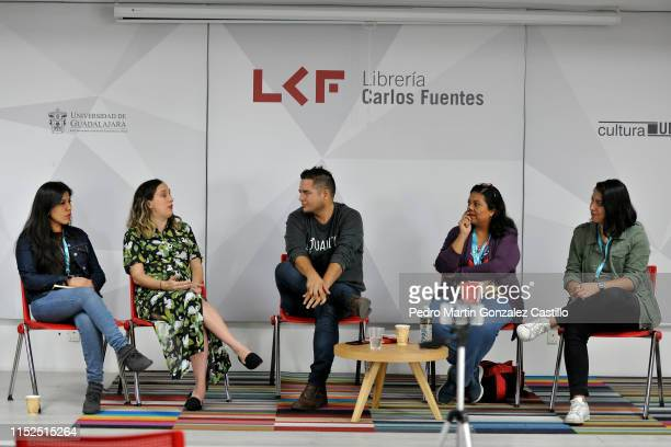 Natalia Cano Romina Pons Liliana Estrada and Carolina López Hidalgo speak on a panel about the female voices of rock on radio and social networks as...