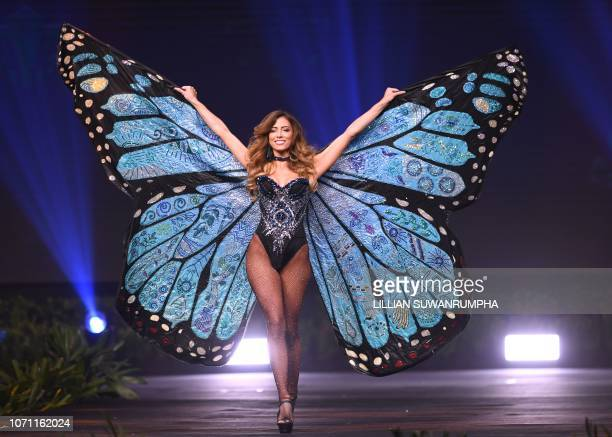 Natalia Carvajal Miss Costa Rica 2018 walks on stage during the 2018 Miss Universe national costume presentation in Chonburi province on December 10...