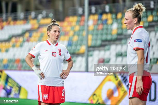 Natalia Chudzik and Anna Redzia of Poland are seen in action during the UEFA Women's EURO 2021 qualifying match between Poland and Czech Republic at...
