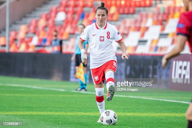 Natalia Chudzik of Poland seen in action during the UEFA Women's EURO 2021 qualifying match between Poland and Czech Republic at BielskoBiala City...