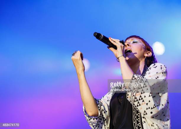 Natalia Clavier of Thievery Corporation performs on stage during Day 3 of Squamish Valley Music Festival on August 10, 2014 in Squamish, Canada.