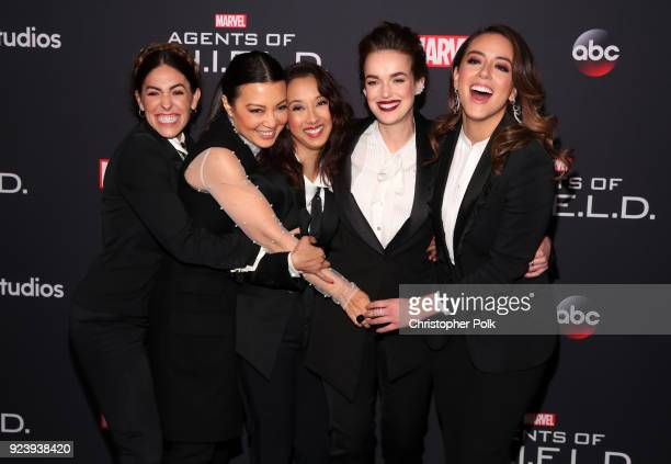Natalia Cordova-Buckley, Ming-Na Wen, Maurissa Tancharoen, Elizabeth Henstridge and Chloe Bennet attend the 100th episode celebration of ABC's...