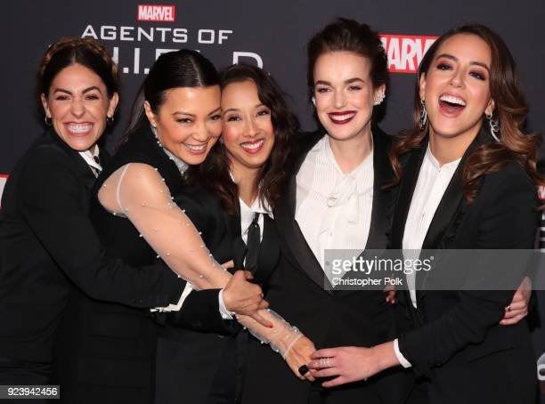 Natalia CordovaBuckley MingNa Wen Maurissa Tancharoen Elizabeth Henstridge and Chloe Bennet attend the 100th episode celebration of ABC's 'Marvel's...