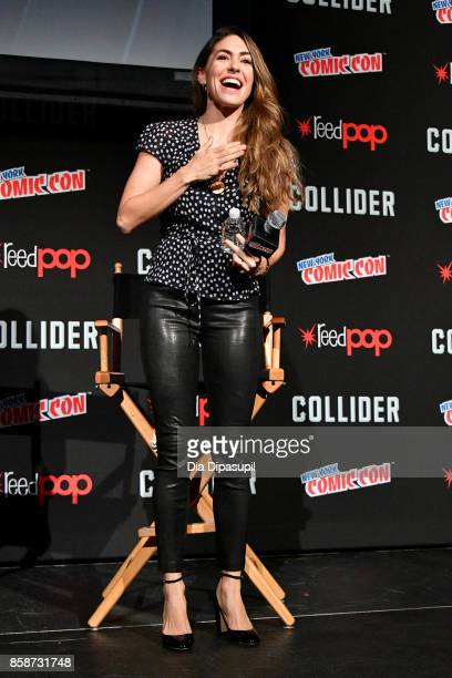 Natalia CordovaBuckley speaks at the Marvel's Agents of SHIELD panel during 2017 New York Comic Con Day 3 on October 7 2017 in New York City