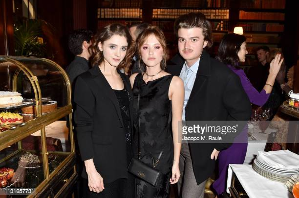 Natalia Daier, Maika Monroe and Charlie Heaton attend Salvatore Ferragamo Dinner Party during Milan Fashion Week Autumn/Winter 2019/20 on February...