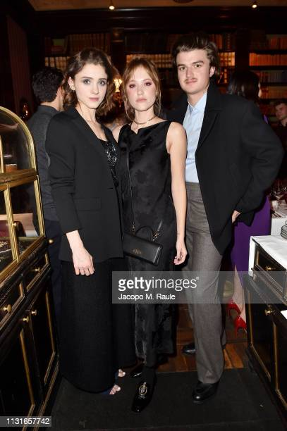 Natalia Daier, Maika Monroe and Charlie Heaton attends Salvatore Ferragamo Dinner Party during Milan Fashion Week Autumn/Winter 2019/20 on February...