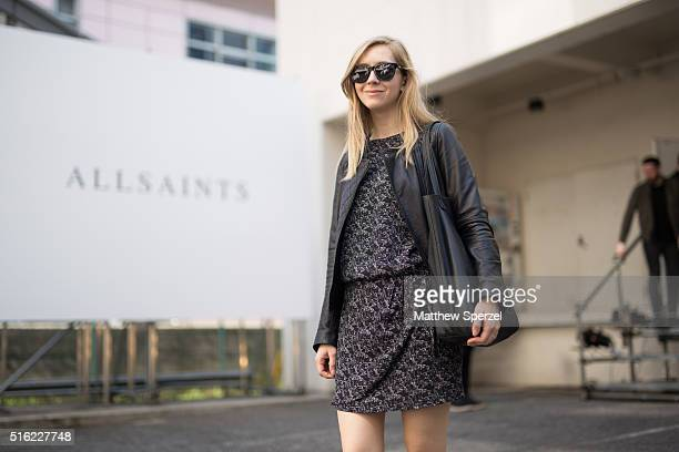 Natalia Davydova of Tokyoholicme attends the Allsaints presentation during Tokyo Fashion Week on March 17 2016 in Tokyo Japan