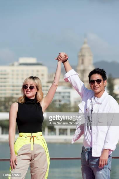 Natalia de Molina and Alberto Jo Lee attend '522, Un Gato, Un Chino and My Father' photocall during the 22th Malaga Film Festival at Muelle Uno on...