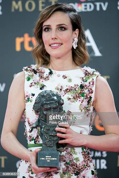 Natalia de Molina holds the award for best actress ina leading role award during the 30th edition of the Goya Cinema Awards at Madrid Marriott...
