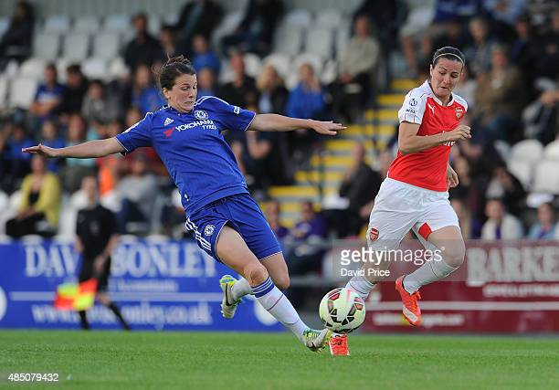 Natalia De Pablos Sanchon of Arsenal takes on Niamh Fahey of Chelsea during the match between Arsenal Ladies and Chelsea Ladies at Meadow Park on...