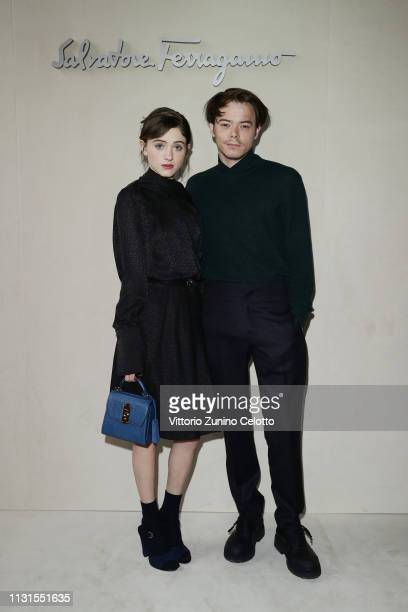 Natalia Dyer and Charlie Heatattend the Salvatore Ferragamo show during Milan Fashion Week Autumn/Winter 2019/20 on February 23 2019 in Milan Italy