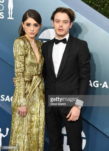 Natalia Dyer and Charlie Heaton arrives at the 26th Annual Screen ActorsGuild Awards at The Shrine Auditorium on January 19 2020 in Los Angeles...