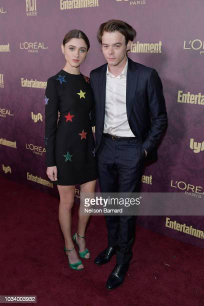 Natalia Dyer and Charlie Heaton attend the 2018 PreEmmy Party hosted by Entertainment Weekly and L'Oreal Paris at Sunset Tower on September 15 2018...