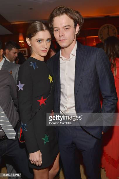 Natalia Dyer and Charlie Heaton attend the 2018 Pre-Emmy Party hosted by Entertainment Weekly and L'Oreal Paris at Sunset Tower on September 15, 2018...