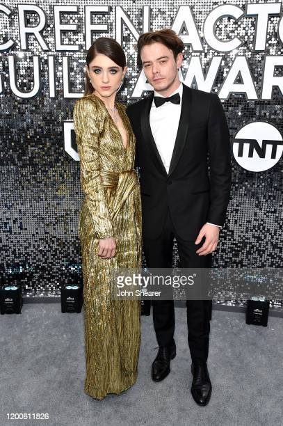 Natalia Dyer and Charlie Heaton attend the 26th Annual Screen Actors Guild Awards at The Shrine Auditorium on January 19 2020 in Los Angeles...