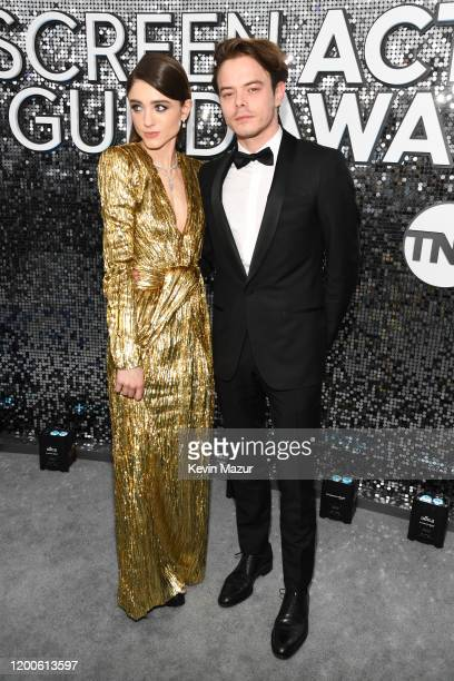 Natalia Dyer and Charlie Heaton attend the 26th Annual Screen ActorsGuild Awards at The Shrine Auditorium on January 19 2020 in Los Angeles...