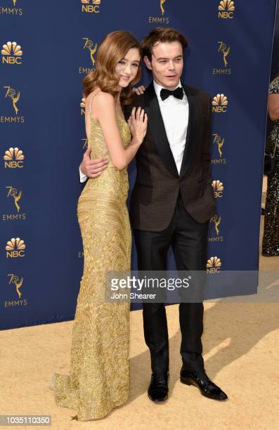 Natalia Dyer and Charlie Heaton attend the 70th Emmy Awards at Microsoft Theater on September 17 2018 in Los Angeles California