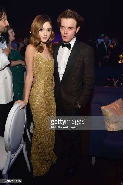 Natalia Dyer and Charlie Heaton attend the 70th Emmy Awards Governors Ball at Microsoft Theater on September 17 2018 in Los Angeles California