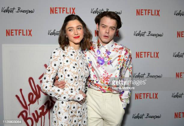 """Natalia Dyer and Charlie Heaton attend the Los Angeles premiere screening of """"Velvet Buzzsaw"""" at American Cinematheque's Egyptian Theatre on January..."""