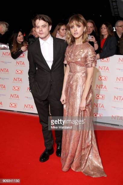 Natalia Dyer and Charlie Heaton attend the National Television Awards 2018 at The O2 Arena on January 23 2018 in London England