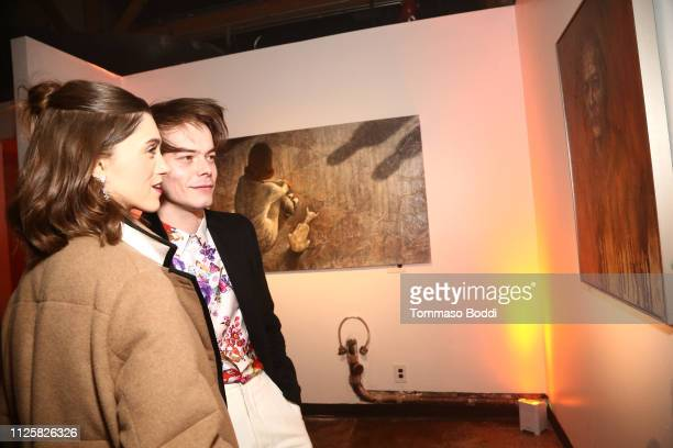 Natalia Dyer and Charlie Heaton attend the Velvet Buzzsaw Los Angeles premiere at The Egyptian Theatre on January 28 2019 in Los Angeles California