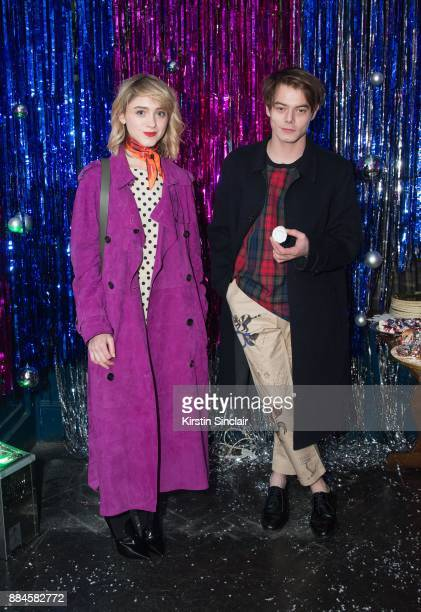Natalia Dyer and Charlie Heaton attends the Burberry x Cara Delevingne Christmas Party on December 2 2017 in London England