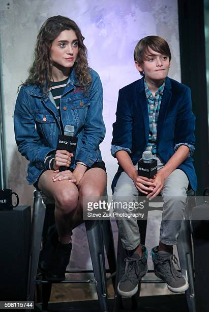 Natalia Dyer and Noah Schnapp attend Build series to discuss 'Stranger Things' at AOL HQ on August 31 2016 in New York City