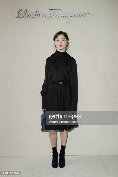 Natalia Dyer attend the Salvatore Ferragamo show during Milan Fashion Week Autumn/Winter 2019/20 on February 23 2019 in Milan Italy