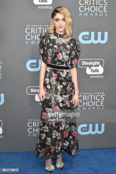 Natalia Dyer attends The 23rd Annual Critics' Choice Awards Arrivals at The Barker Hanger on January 11 2018 in Santa Monica California