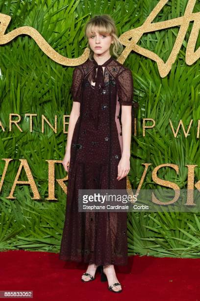 Natalia Dyer attends the Fashion Awards 2017 In Partnership With Swarovski at Royal Albert Hall on December 4 2017 in London England