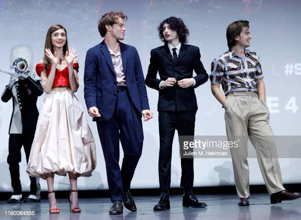 Natalia Dyer, Charlie Heaton, Finn Wolfhard and Joe Keery attend the Stranger Night Paris At Le Grand Rex on July 04, 2019 in Paris, France.