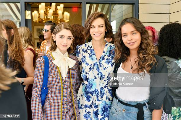 Natalia Dyer Lauren Cohan and Alisha Boe attend Glamour x Tory Burch Women To Watch Lunch on September 15 2017 in Beverly Hills California