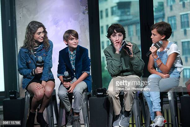 Natalia Dyer Noah Schnapp Finn Wolfhard and Millie Bobby Brown attend Build series to discuss 'Stranger Things' at AOL HQ on August 31 2016 in New...