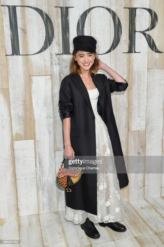 Natalia Dyer poses at a photocall during Christian Dior Couture S/S19 Cruise Collection on May 25, 2018 in Chantilly, France.