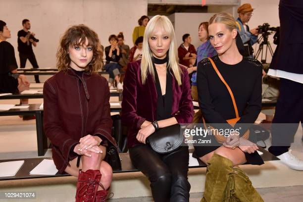 Natalia Dyer SooJoo Park and Poppy Delevingne attends the Longchamp Spring/Summer 2019 Runway Show at World Trade Center on September 8 2018 in New...