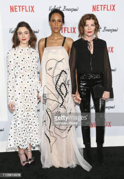Natalia Dyer Zawe Ashton and Rene Russo attend the Velvet Buzzsaw Los Angeles premiere at The Egyptian Theatre on January 28 2019 in Los Angeles...